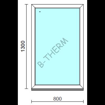 Fix ablak.   80x130 cm (Rendelhető méretek: szélesség 75-84 cm, magasság 125-134 cm.)   Optima 76 profilból