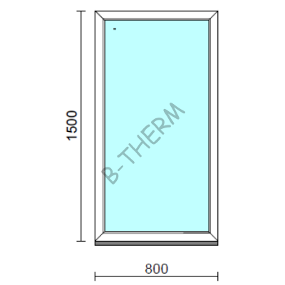 Fix ablak.   80x150 cm (Rendelhető méretek: szélesség 75-84 cm, magasság 145-154 cm.)   Optima 76 profilból