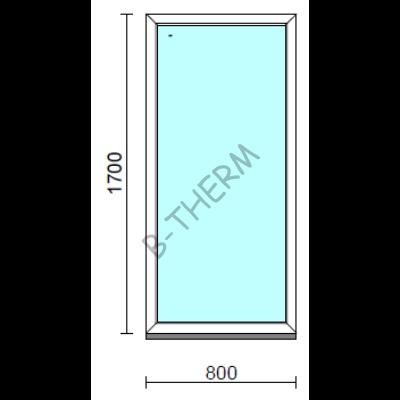Fix ablak.   80x170 cm (Rendelhető méretek: szélesség 75-84 cm, magasság 165-174 cm.)   Optima 76 profilból