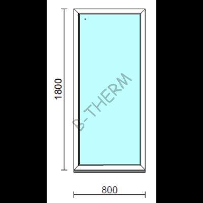 Fix ablak.   80x180 cm (Rendelhető méretek: szélesség 75-84 cm, magasság 175-184 cm.) Deluxe A85 profilból