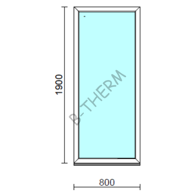 Fix ablak.   80x190 cm (Rendelhető méretek: szélesség 75-84 cm, magasság 185-194 cm.)   Optima 76 profilból