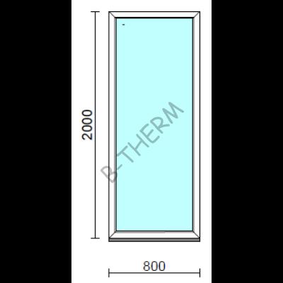 Fix ablak.   80x200 cm (Rendelhető méretek: szélesség 75-84 cm, magasság 195-204 cm.)   Optima 76 profilból