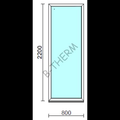 Fix ablak.   80x220 cm (Rendelhető méretek: szélesség 75-84 cm, magasság 215-224 cm.)   Optima 76 profilból
