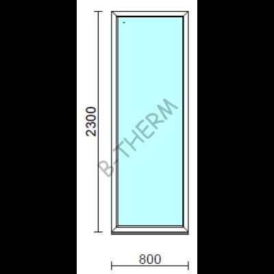 Fix ablak.   80x230 cm (Rendelhető méretek: szélesség 75-84 cm, magasság 225-234 cm.)   Optima 76 profilból