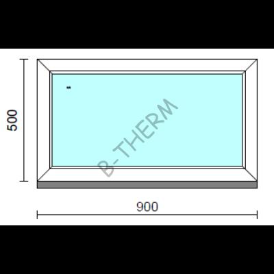 Fix ablak.   90x 50 cm (Rendelhető méretek: szélesség 85-94 cm, magasság 50-54 cm.)   Optima 76 profilból