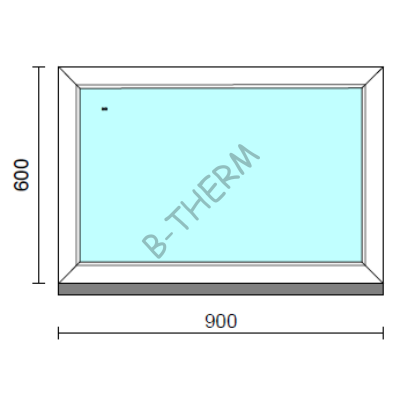 Fix ablak.   90x 60 cm (Rendelhető méretek: szélesség 85-94 cm, magasság 55-64 cm.)   Optima 76 profilból