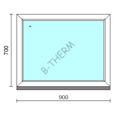 Fix ablak.   90x 70 cm (Rendelhető méretek: szélesség 85-94 cm, magasság 65-74 cm.)   Optima 76 profilból