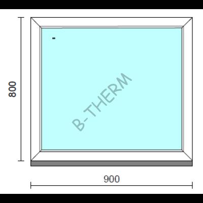 Fix ablak.   90x 80 cm (Rendelhető méretek: szélesség 85-94 cm, magasság 75-84 cm.)   Optima 76 profilból