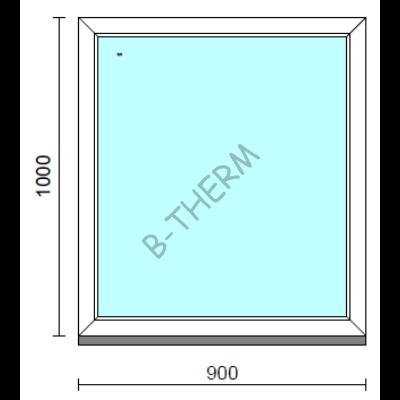 Fix ablak.   90x100 cm (Rendelhető méretek: szélesség 85-94 cm, magasság 95-104 cm.)   Optima 76 profilból
