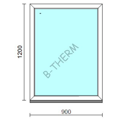Fix ablak.   90x120 cm (Rendelhető méretek: szélesség 85-94 cm, magasság 115-124 cm.)   Optima 76 profilból
