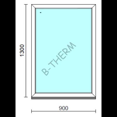 Fix ablak.   90x130 cm (Rendelhető méretek: szélesség 85-94 cm, magasság 125-134 cm.)   Optima 76 profilból