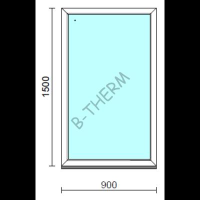 Fix ablak.   90x150 cm (Rendelhető méretek: szélesség 85-94 cm, magasság 145-154 cm.)   Optima 76 profilból