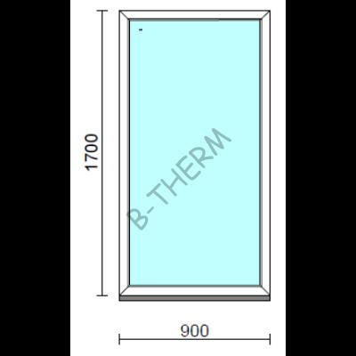 Fix ablak.   90x170 cm (Rendelhető méretek: szélesség 85-94 cm, magasság 165-174 cm.)   Optima 76 profilból