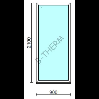 Fix ablak.   90x210 cm (Rendelhető méretek: szélesség 85-94 cm, magasság 205-214 cm.)   Optima 76 profilból