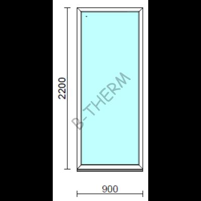 Fix ablak.   90x220 cm (Rendelhető méretek: szélesség 85-94 cm, magasság 215-224 cm.)   Optima 76 profilból