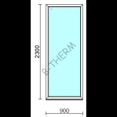 Fix ablak.   90x230 cm (Rendelhető méretek: szélesség 85-94 cm, magasság 225-234 cm.)   Optima 76 profilból