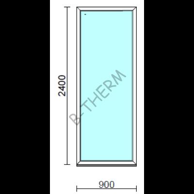 Fix ablak.   90x240 cm (Rendelhető méretek: szélesség 85-94 cm, magasság 235-240 cm.)   Optima 76 profilból