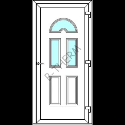 Egyszárnyú befelé nyíló  BALKON SZÁRNYAS bejárati ajtó SLine   Köln Light 3 üveges díszpanellel. CSAK FEHÉR SZÍNBEN!  (Rendelhető méretek: szélesség 83-106 cm, magasság 179-214 cm.)   Optima 76 profilból