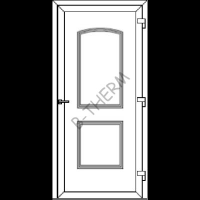 Egyszárnyú befelé nyíló ERŐSÍTETT bejárati ajtó SLine  Hamburg Light  tömör díszpanellel. CSAK FEHÉR SZÍNBEN!  (Rendelhető méretek: szélesség 82-108 cm, magasság 187-216 cm.)   Optima 76 profilból