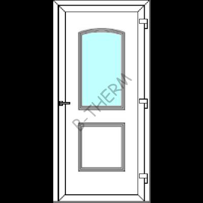 Egyszárnyú befelé nyíló  NORMÁL bejárati ajtó SLine  Hamburg Light 1 üveges díszpanellel. CSAK FEHÉR SZÍNBEN!  (Rendelhető méretek: szélesség 82-106 cm, magasság 182-214 cm.)   Optima 76 profilból