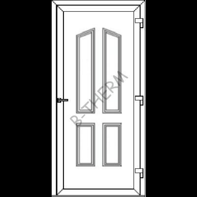 Egyszárnyú befelé nyíló  NORMÁL bejárati ajtó SLine  Hof Light  tömör díszpanellel. CSAK FEHÉR SZÍNBEN!  (Rendelhető méretek: szélesség 83-106 cm, magasság 181-214 cm.)   Optima 76 profilból
