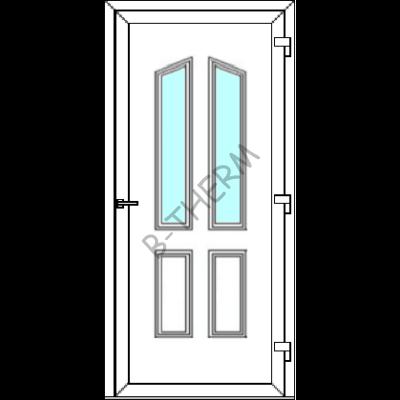 Egyszárnyú befelé nyíló  NORMÁL bejárati ajtó SLine  Hof Light Glass 2 üveges díszpanellel. CSAK FEHÉR SZÍNBEN!  (Rendelhető méretek: szélesség 83-106 cm, magasság 181-214 cm.)   Optima 76 profilból