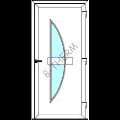 Egyszárnyú befelé nyíló  NORMÁL bejárati ajtó Rurik T3 üveges díszpanellel. CSAK FEHÉR SZÍNBEN!  (Rendelhető méretek: szélesség 78-110 cm, magasság 188-230 cm.)   Optima 76 profilból