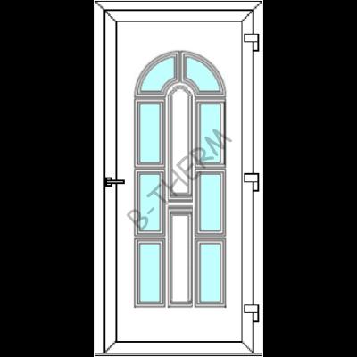 Egyszárnyú befelé nyíló  BALKON SZÁRNYAS bejárati ajtó SLine Bonn Light 8 üveges díszpanellel. CSAK FEHÉR SZÍNBEN!  (Rendelhető méretek: szélesség 83-106 cm, magasság 178-214 cm.)   Optima 76 profilból